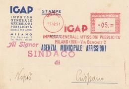 Milano. 1951. Affrancatura Meccanica Rossa IGAP IMPRESA GENERALE AFFISIONI, Su Stampe - Affrancature Meccaniche Rosse (EMA)