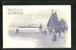 Künstler-AK Henri Cassiers: Red Star Line, Antwerpen-New York & Boston-Philadelphia, Auslaufender Dampfer - Otros Ilustradores