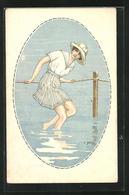 Künstler-AK Sign. C. Giris: Junge Frau In Blau Weisser Sommerkleidung Im Wasser - Illustrators & Photographers