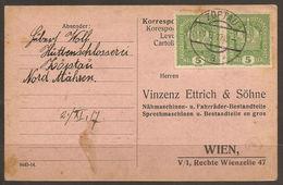 AUSTRIA / CZECH / MORAVIA. 1917. COMMERCIAL CARD FROM ZOPTAU. VINZENZ, ETTRICH & SOHNE – BICYCLE, BIKE AND CAR PARTS & T - 1850-1918 Empire