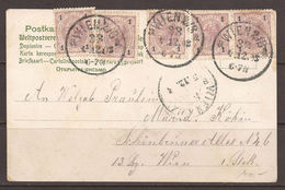 AUSTRIA. 1903. POSTCARD. FIVE 1h ON CARD. INVERTED 4 IN DATE. WIEN 33 CANCEL. PERF 13 X 13.5. WITH VARNISH. - 1850-1918 Empire