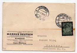 1935 YUGOSLAVIA, SERBIA,, PANCEVO TO SOMBOR, CORRESPONDENCE CARD, MARCUS DEUTCH - 1931-1941 Kingdom Of Yugoslavia