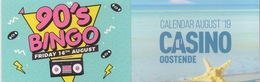 Carte De Calendrier Août 2019 : Casino Oostende Belgique - Cartes De Casino