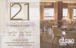 """Carte De """"Restaurant 21"""" Dans Le Casino : Casino Oostende Belgique - Casinokarten"""