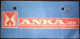 Turkey Bus Ticket Anka Turizm December 1980 - Billetes De Transporte