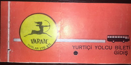 Turkey Bus Ticket Varan Turizm February 1980 - Billetes De Transporte