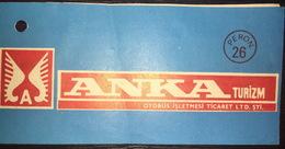 Turkey Bus Ticket Anka Turizm June 1981 - Billetes De Transporte
