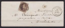 "L. De Ardoys (ARDOOIE) Affr. N°9 P102 (?) Càd ROULERS /22 NOV 1861 Pour MEULEBEKE - Boîte ""B"" (pas De Càd Au Dos) - 1858-1862 Medallones (9/12)"
