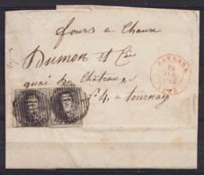 L. De HEUDEN Affr. Paire N°6 P102 Càd ROULERS /19 AVR 1855 Pour TOURNAI (au Dos: Càd TOURNAY) - 1851-1857 Medallones (6/8)