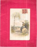 CPA COLORISEE DOS SIMPLE FANTAISIE  -  Portrait D'une Belle Femme Assisse Sur Un Rocher  - ROY2/ARD - - Femmes