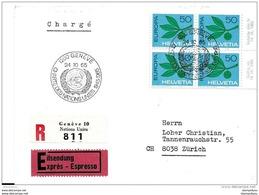 """56 - 97 - Enveloppe Recommandée Exprès Avec Oblit Spéciale  """"Charte Des Nations Unies Genève 1965"""" - Marcophilie"""