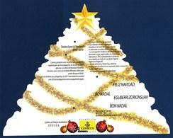 "= Carte Spéciale Noël, Forme Sapin Numérotée 050101 ""Feliz Navidad"" (en Plusieurs Langues) - Fogli Ricordo"
