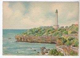 CP Barre Et Dayez - BIARRITZ - Le Phare Et La Pointe Saint-Martin - N° 2067 G - Illustrateur Barday - Biarritz