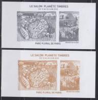 = Blocs Gommés Imprimés Lors Du Salon Planète Timbres 2012 Sur Le Stand Philaposte Au Parc Floral De Paris - Documents Of Postal Services