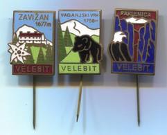 Alpinism Mountaineering Climbing Montanismo - VELEBIT Croatia, Vintage Pin, Badge, Abzeichen, Enamel, 3 Pcs - Alpinismus, Bergsteigen