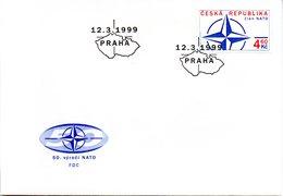 """(FC-3) Tschechische Republik Schmuck-FDC  """"NATO-Beitritt"""", Mi. 212 ESSt 12.3.1999 PRAHA - Tschechische Republik"""