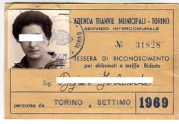 TRAM TRAMWAYS BUS TRANVIE MUNICIPALI TORINO - TESSERA BIGLIETTO TICKET DI ABBONAMENTO 1969 - Abbonamenti
