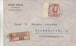 Tchècoslovaquie - Lettre Recom De 1919 - Oblit Leitmeritz - Exp Vers Kopenhagen - Czechoslovakia