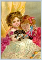PRETTY LITTLE GIRLS With Lap Dog Friends Old Fashion New Unposted Postcard - Kinderen