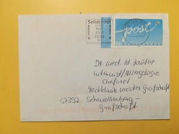 2002 BUSTA GERMANIA DEUTSCHE BOLLO POST ANNULLO BRIEFZENTRUM 57 ETICHETTA NOT HILFE 2002 GERMANY - [7] Repubblica Federale