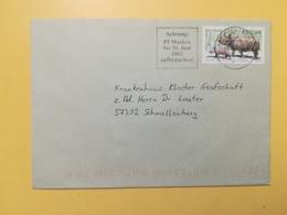 2002 BUSTA GERMANIA DEUTSCHE BOLLO ANIMALI ANIMALS ANNULLO BRIEFZENTRUM 57 ETICHETTA GERMANY - [7] Repubblica Federale