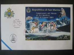 San Marino- FDC Beleg Mit Block 32 Nordische Schiweltmeisterschaft Im Fleimstal Mi. 2062-2064 - Briefe U. Dokumente