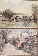 2 CPA, Aquarelles,Paris, Pont Marie, Port Des Célestins, Bouquinistes Du Quai De La Tournelle, Années 50, édition Yvon - Autres