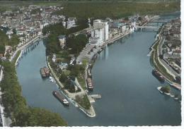 CPSM -77 - MELUN - La Pointe De L'Ile Sur La Seine , Coopérative Agricole, Péniches   - TBE - - Melun