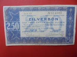 PAYS-BAS 2 1/2 GULDEN 1938 CIRCULER (B.5) - [2] 1815-… : Regno Dei Paesi Bassi