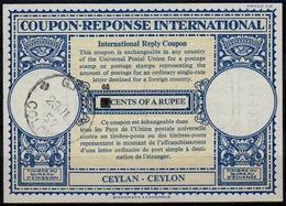 CEYLON / SRI LANKA Lo16n HS. 65 / 50 CENTS International Reply Coupon Reponse IAS IRC Antwortschein o COLOMBO 29.7.59 - Sri Lanka (Ceylon) (1948-...)