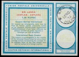 CEYLON / SRI LANKA Vi21 1,25 RUPEE International Reply Coupon Reponse IAS IRC Antwortschein O COLOMBO 13.11.73 - Sri Lanka (Ceylon) (1948-...)