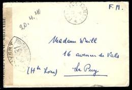 POSTE AUX ARMÉES - 1940 - CENSURE - ZENSUR - CENSORSHIP - OUVERT COMMISSION MC - Franchise Militaire (timbres)