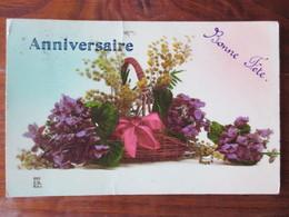 Carte Anniversaire & Bonne Fête - Corbeille De Fleurs - Carte écrite En 1928, Postée à Saint Dié 88  - 2 Photos - Anniversaire