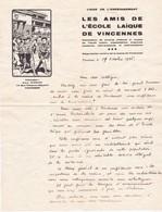"""94   VINCENNES  :  LETTRE  """"  LES  AMIS  DE  L' ECOLE  LAIQUE  """"  -  1936   - - Old Paper"""