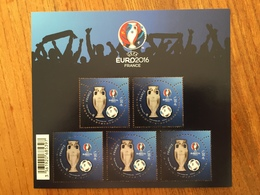 BLOC EURO 2016 UEFA Championnat D'Europe Football 3D - 5 Valeurs De 1,00€ Y&T BF137 - Neufs ** - Nuovi
