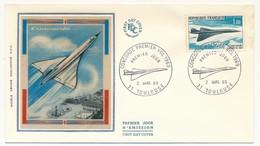 FRANCE - Enveloppe FDC Soie - Concorde Premier Vol 1969 - TOULOUSE 2/03/1969 - 1960-1969