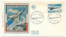 FRANCE - Enveloppe FDC Soie - Concorde Premier Vol 1969 - TOULOUSE 2/03/1969 - Concorde