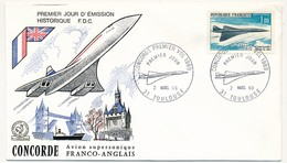 FRANCE - Enveloppe FDC Historique - Concorde Premier Vol 1969 - TOULOUSE 2/03/1969 - Concorde