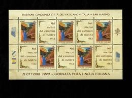 Città Del Vaticano 2009 Giornata Della Lingua Italiana MNH** Foglietto Emissione Congiunta - 6. 1946-.. Repubblica