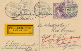 Nederland / Nederlands Indië - 1927 - 2,5 Gulden Bontkraag Op Briefkaart Met Koppenvlucht Van 1-10 Naar Fort De Kock - Luftpost