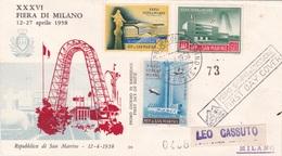 XXXVI FIERA DI MILANO 12-27 APRILE 1958  REP. DI S. MARIN  FILATELICO  1° GIORNO EMISSIONE 12-4-58  AUTENTICA 100% - Posta