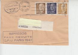 """SPAGNA 1947 - """"TAXE REDUITE""""frontespizio Di Lettera Con Francobolli Perforati - 1931-50 Storia Postale"""