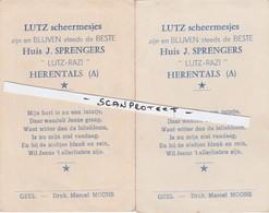 HERENTALS-2 RECLAMEPRENTJES-LUTZ SCHEERMESJES-HUIS J.SPRENGERS-GEGEVEN BIJ DE COMMUNIE-DRUKKERIJ MOONS-GEEL-ZIE 2 SCANS! - Herentals