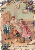 Chromos : Gaufré - Chocolat Poulain : Enfants Jouant Avec Un Lièvre Humanisé - ( Paques ) - Poulain