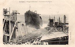 """83 LA SEYNE SUR MER FORGES ET CHANTIERS MEDITERRANEE LANCEMENT D"""" UN NAVIRE LE WALOU - La Seyne-sur-Mer"""