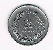 //   TURKIJE  2 1/2  LIRA  1972 - Turquie