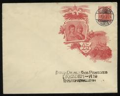 S1843 DR 10 Pfg Germania Privat GS Umschlag Kaiser, Gebraucht St. Johann Saar - Dresden 1906, Sammlerbeleg, Versand Im - Deutschland