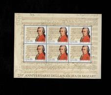 Città Del Vaticano 2006  250° Anniversario Della Nascita Di Mozart  MNH** Foglietto - 6. 1946-.. Repubblica