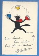 SAINTE-CATHERINE - ILLUSTRATEUR: RENÉ - CHAT - TROIS BONNETS, TROIS COULEURS, TROIS FOIS DU BONHEUR... CHATS RENÉ N° 208 - Sint Catharina