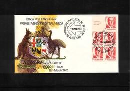 Australia 1972 Prime Ministers FDC Booklet Pane - 1966-79 Elizabeth II